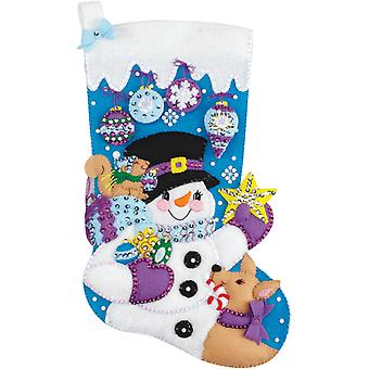 Frosty's Favorite Ornament Stocking Felt Applique Kit 18