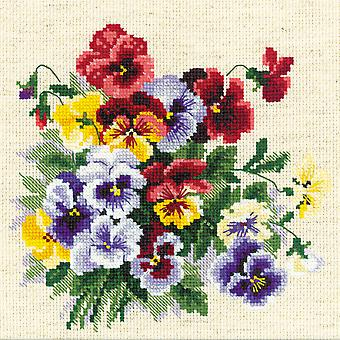 Pansy Medley Counted Cross Stitch Kit-8