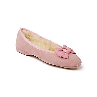 Ladies Ballerina Sheepskin Slippers - Rose