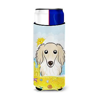 Longhair Creme Dachshund Summer Beach Michelob Ultra Koozies for slim cans BB2080MUK