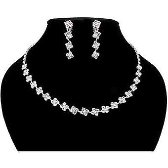 Clear Crystal Square Extravaganza Necklace and Clip On Earrings Set