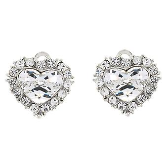 Clip On Earrings Store Silver & Swarovski Crystal Love Heart Clip On Earrings