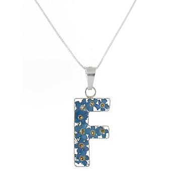 Shrieking Violet Sterling Silver Forget Me Not Flowers F Initial Pendant