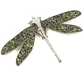Kenneth Jay Lane Crystal and Gunmetal Dragonfly Brooch Pin