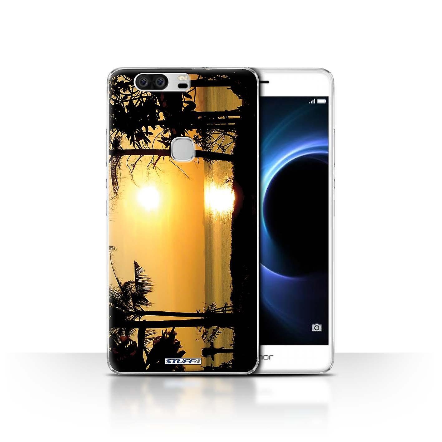 STUFF4 Case/Cover for Huawei Honor V8/Tropical Trees/Sunset Scenery