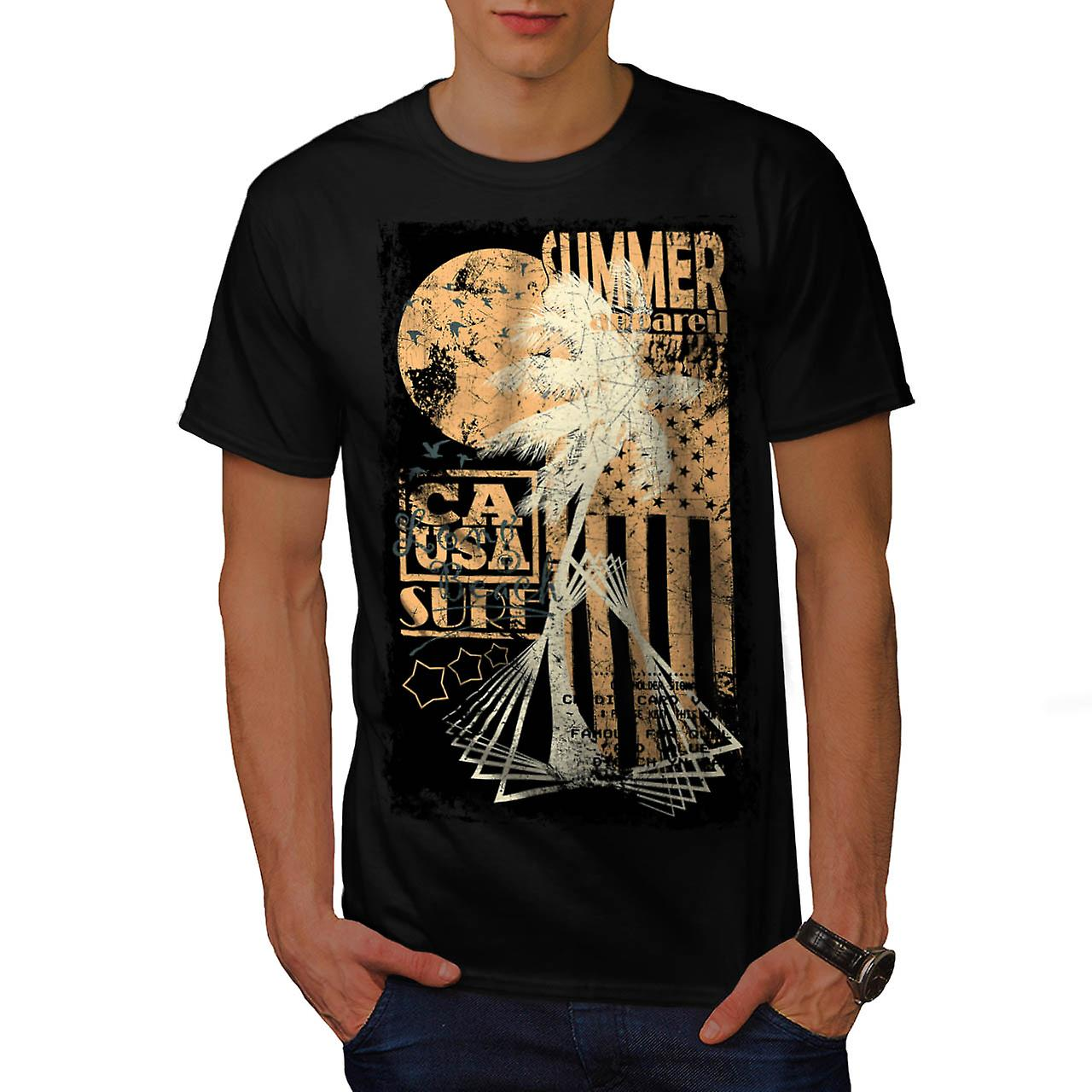 Summer Surfer Apparel California Men Black T-shirt | Wellcoda