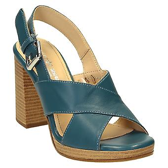 Slingback open toe strappy sandals in denim color leather