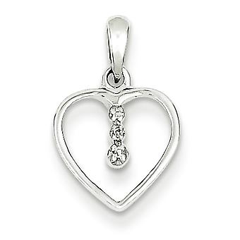 Sterling Silver Rhodium Heart Pendant - .01 dwt .5 Grams