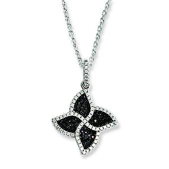 Sterling Silver and CZ Brilliant Embers Flower Necklace - 18 Inch