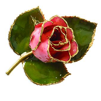 24k Gold Trim Pink Rose Brooch Pin