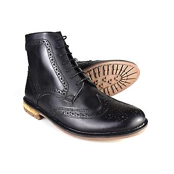 Silver Street Gerrard Black Leather Formal Mens Brogue Boots