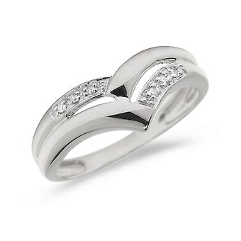 14K White Gold Diamond Chevron Ring