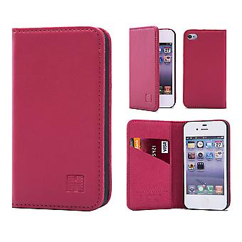 32nd Classic Real Leather Wallet for Apple iPhone 5 5S SE - Rose Pink