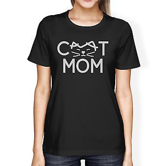 Cat Mom Womens Black Short Sleeve T Shirt Cute Design For Cat Moms