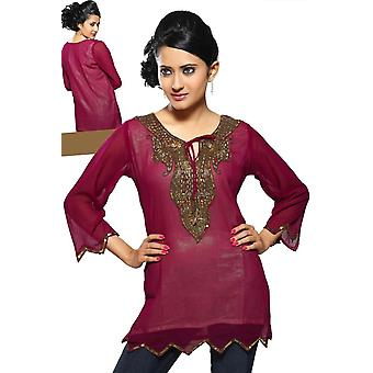 Fine Georgette Kurti with handcrafted neckline and liner