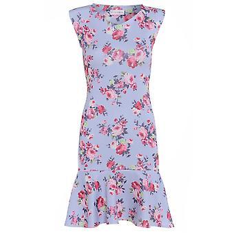 Love2Dress lila bloemen potlood jurk met peplos Hem UK maat 8