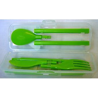 Sistema Cutlery to Go, Knife, Fork, Spoon & Chopstick Set, Lime Green