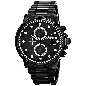Citizen Eco-Drive Nighthawk Ion Black Chronograph Ladies Watch FB3005-55E