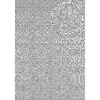 Baroque wallpaper Atlas PRI-498-4 non-woven wallpaper smooth with ornaments shiny grey silver Platinum Grey perl light grey 5.33 m2