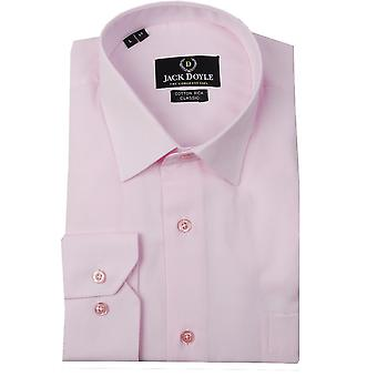 JD Shirts Classic Plain Woven Shirt In Pink