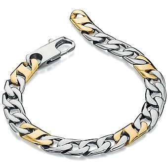 Stainless Steel Gold Plated Leather Fashionable Bracelet