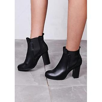 Diamante Faux Leather Suede Block Heeled Ankle Boots Black