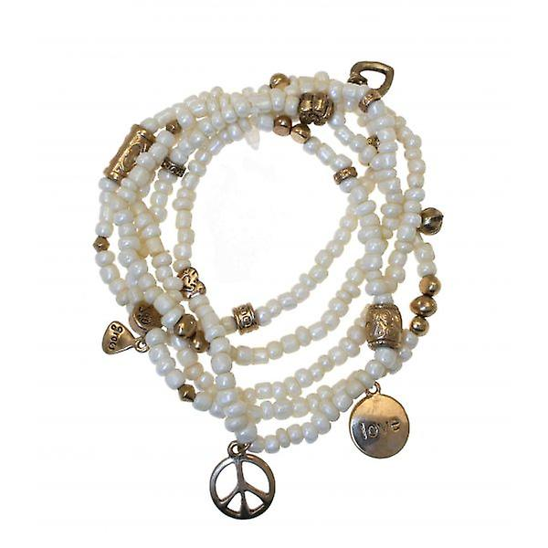 W.A.T Stretchy Faux Pearl Bead Love And Peace Bracelet