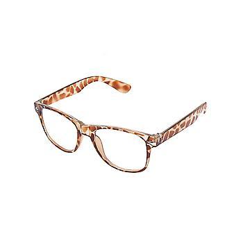 Color Vintage retro Geek Punk Unisex Wayfare estilo cero número lente claro cristales de gafas - estampado de leopardo