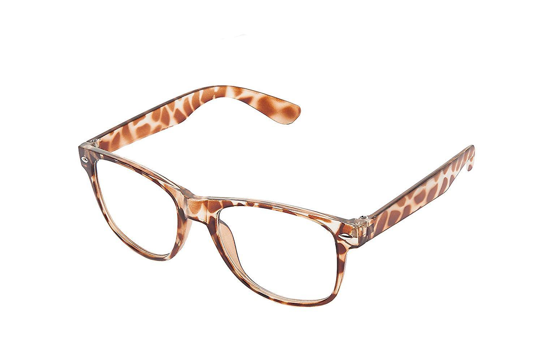 Retro Vintage Colour Unisex Punk Geek Wayfare Style Zero Number Clear Lens Glasses Eyewear - Leopard Print