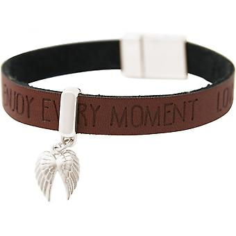 -Bracelet - protection Angel - double wing - 925 Silver - WISHES - Brown dark - magnetic closure