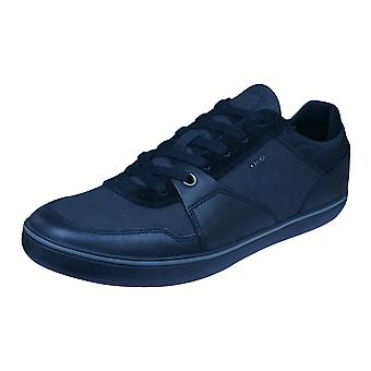 Geox U Box A Nappa Mens Leather Trainers / Shoes - Black