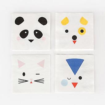 Paper Napkins Mini Animals Pack of 20 Napkins 3 Ply Childrens Party