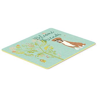 Welcome Friends Flashy Fawn Boxer Kitchen or Bath Mat 20x30