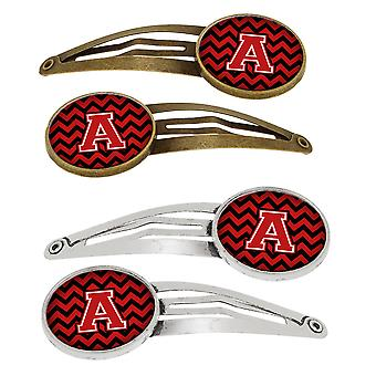 Letter A Chevron Black and Red   Set of 4 Barrettes Hair Clips