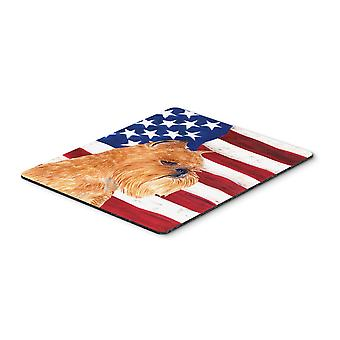 USA American Flag with Brussels Griffon Mouse Pad, Hot Pad or Trivet
