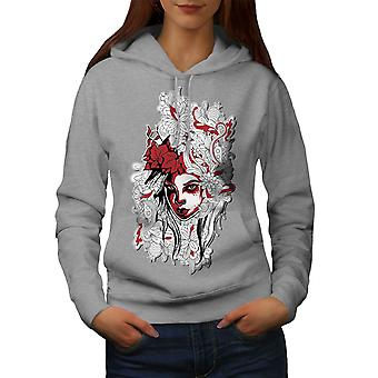 Woman Art Girl Fashion Women GreyHoodie | Wellcoda