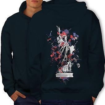Statue Freedom New York Men NavyHoodie Back | Wellcoda