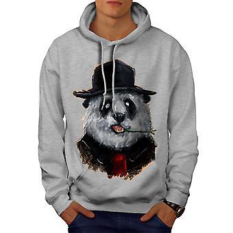 Panda Business Animal Men GreyHoodie | Wellcoda