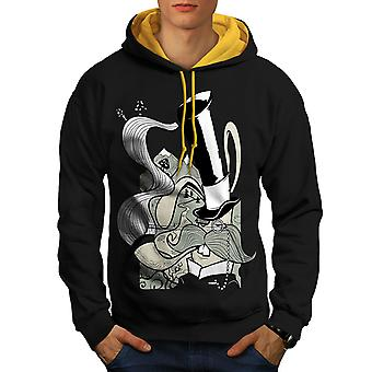 Hippie Smoking Men Black (Gold Hood)Contrast Hoodie | Wellcoda
