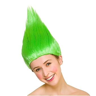 Bright Coloured Troll 90's Spiked Wig Adults Fancy Dress Accessory-Green