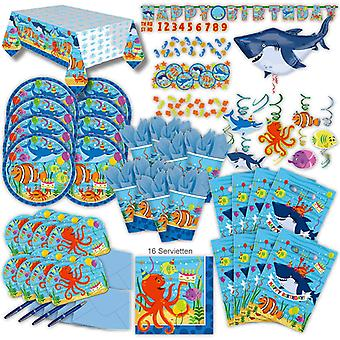 Ocean sea party set XL 72-teilig for 8 guests Ocean party decoration party package