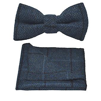 Luxe Egeïsche blauw Herringbone Check strikje & zak plein Set, Tweed