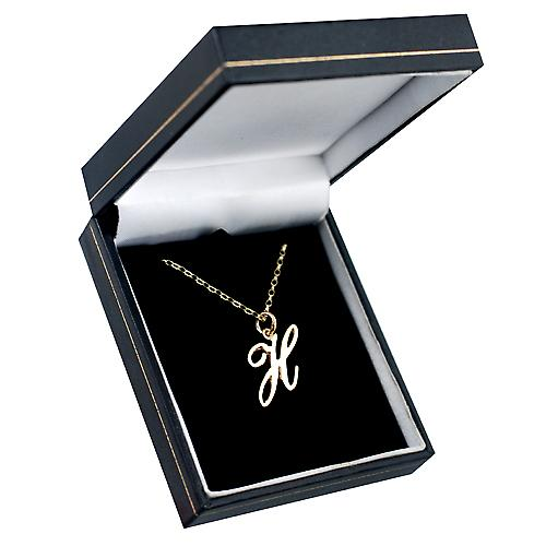 9ct Gold 28x15mm plain Initial H Pendant with a belcher Chain 16 inches Only Suitable for Children