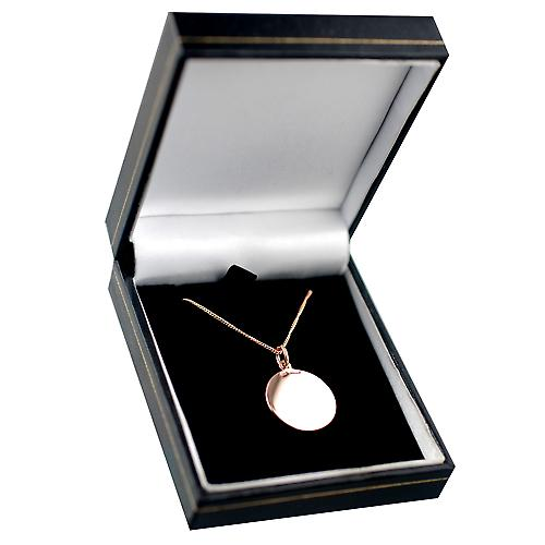 9ct Rose Gold 20mm round plain Disc with a curb Chain 16 inches Only Suitable for Children