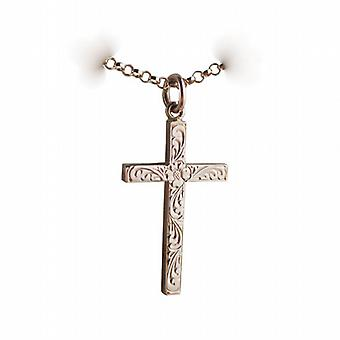 9ct Rose Gold 30x18mm victorian hand engraved solid block Cross with belcher Chain 24 inches
