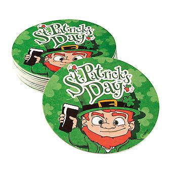 St Patricks Day Beer Mat Coasters Irish Leprechaun Party Accessory/Supplies 10PK