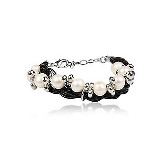 Bracelet double rows in leather and pearls