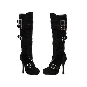 Ellie Shoes E-420-Vixen 4 Microfiber Knee High Boot With Buckles