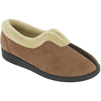 Mirak Ladies Jenny Slip On Fluffy Collar Textile Slipper Brown