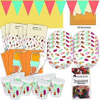 Ice gelati summer party set XL 57-teilig for 6 guests ice party birthday decoration party package